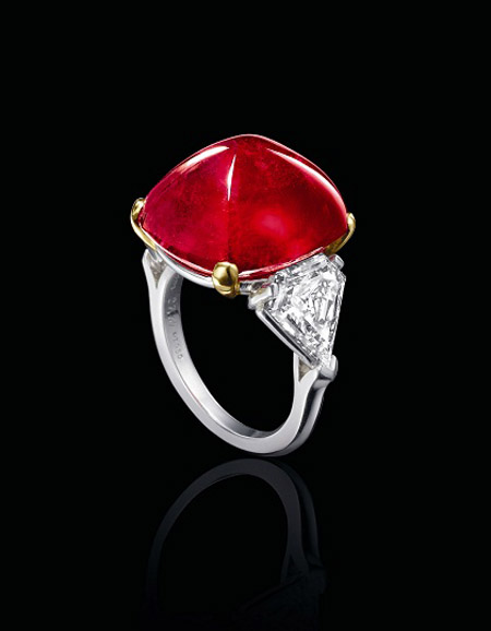 26.67 Carat Burmese Ruby Cabochon And Diamond Ring Bulgari Sotheby's Auction