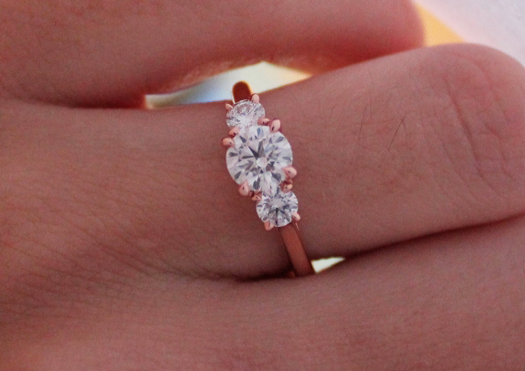 3-stone diamond ring in rose gold