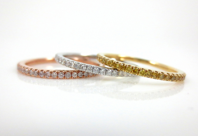 Trio of Bands with Pink, Yellow, and White Diamonds shared by Asscherhalo_lover