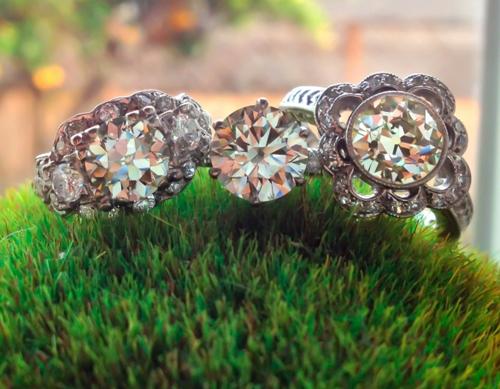 Old European Cut Diamond Rings with an Ideal Cut Round Diamond Ring