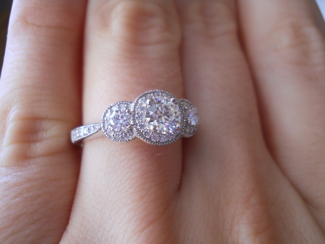 Diamond halo 3-stone engagement ring shared by Laila619