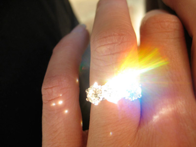 Fire Diamond Three Stone Ring