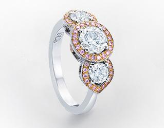 Leibish & Co. - 3 Stone White and Fancy Pink Diamond Halo Ring (Image:  Courtesy of Leibish & Co.)