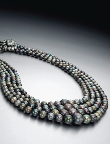 Rare four-strand natural colored pearl necklace • Image: Christie's