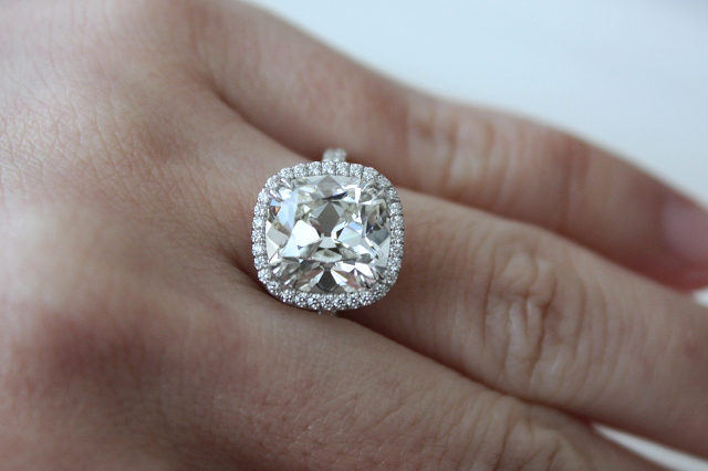 5-carat 'August Vintage' cushion-cut diamond ring shared by mom2boys