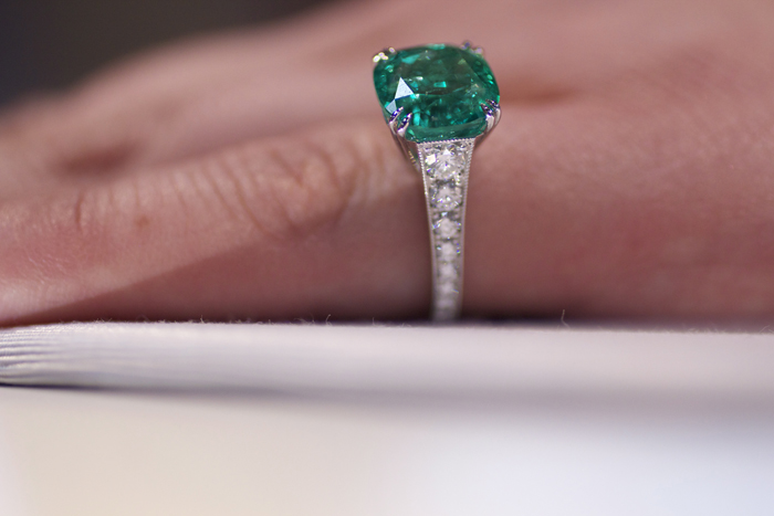 5.15-carat cushion-cut Colombian emerald by Omi Prive
