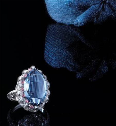 5.00 carat fancy vivid blue double rose cut diamond ring
