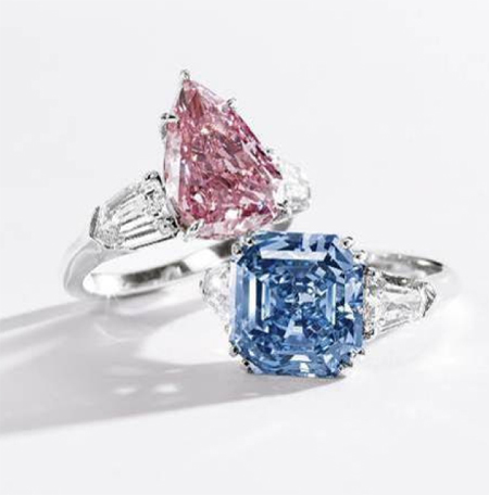 5.03 carat Fancy Vivid Pink Diamond with an 8.02 carat Fancy Vivid Blue Diamond to be auctioned at Sotheby's on April 3, 2012