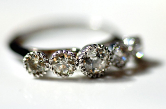 Old European Cut 5 Stone Diamond Ring