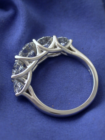 5-stone trellis-style diamond ring