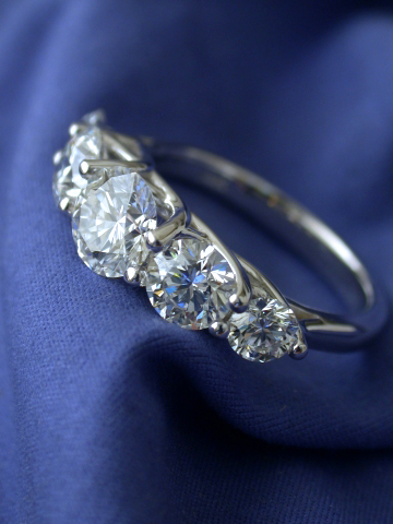 5-stone trellis-style diamond engagement ring