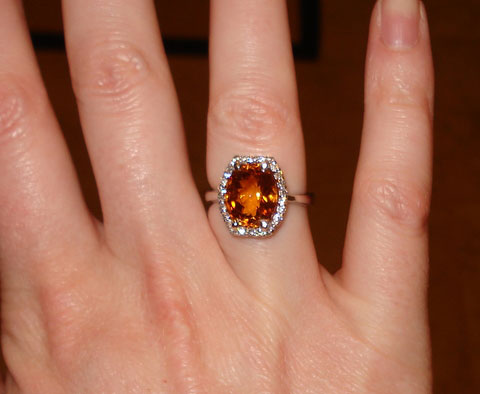 Tuckins1's November Birthstone Alert - 6 Carat Citrine Halo Ring (Hand View) - image by Tuckins1