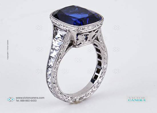 makeable's 9 Carat Cushion Cut Tanzanite Ring with Vintage Tapered French Cut Diamonds (Side Angle View) - image by Victor Canera
