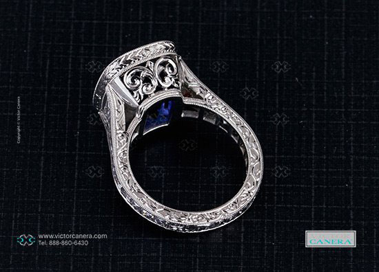 makeable's 9 Carat Cushion Cut Tanzanite Ring with Vintage Tapered French Cut Diamonds (Side View) - image by Victor Canera