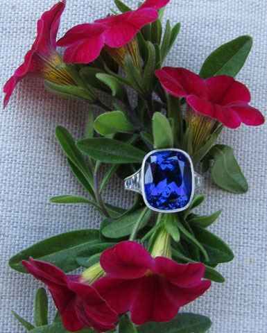 makeable's 9 Carat Cushion Cut Tanzanite Ring with Vintage Tapered French Cut Diamonds (Top View) - image by makeable