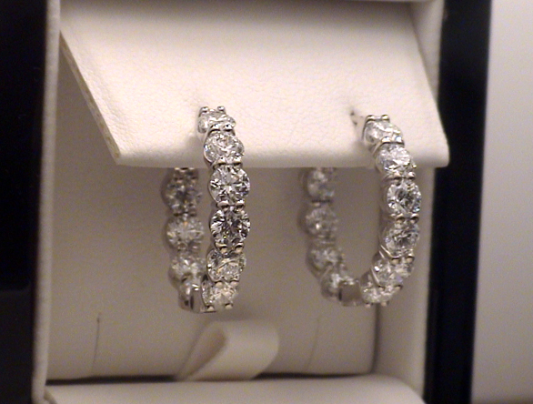 5-carat diamond hoop earrings