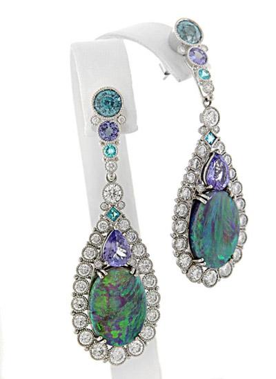 AGTA Spectrum Awards, Best Use of Color: Deirdre Featherstone, Opal, Paraiba Tourmaline, Zircon, and Diamond Earrings