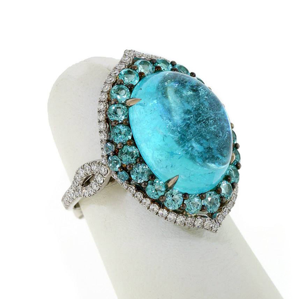 AGTA 2014 Evening Wear - 1st Place - Paraiba tourmaline ring by Leon Mege