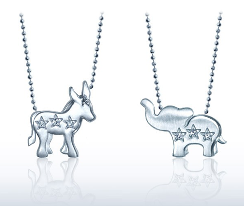 Alex Woo Donkey and Elephant Little Activist Pendants