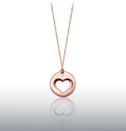 Alex Woo Open Heart Pendant in Rose Gold