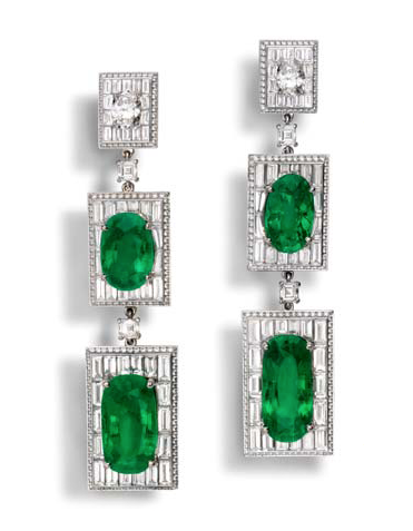 Alexandre Reza platinum earrings with over 51 carats of Colombian emeralds