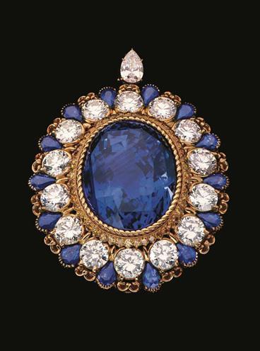 Alexandre Reza brooch with 134-carat unheated Ceylon sapphire
