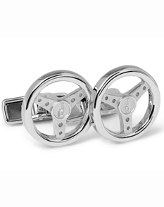 Alfred Dunhill whimsical sterling silver steering wheel cufflinks