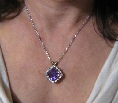 Custom amethyst and diamond pendant