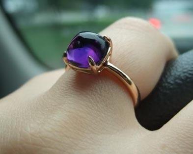 Sugarloaf amethyst ring in rose gold