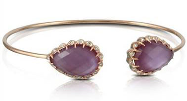 "Doves Jewelry Designs B6576PMA Doves ""Viola"" Amethyst Over Pink Mother Of Pearl Cuff Bangle Bracelet with Bezel Diamond Halo at Solomon Brothers"