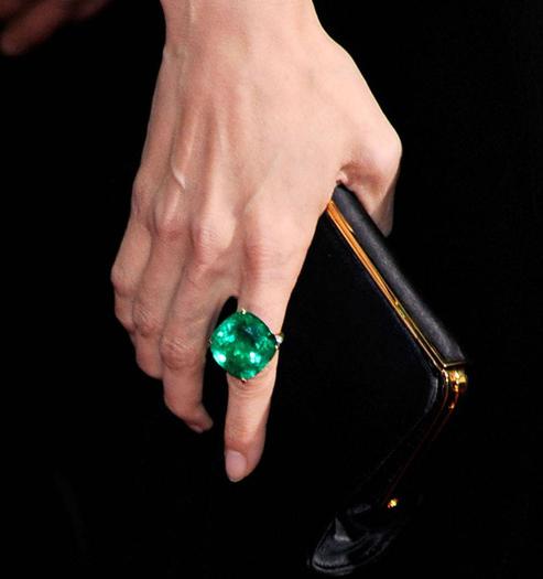 Angelina Jolie 65-carat Emerald Ring by Lorraine Schwartz