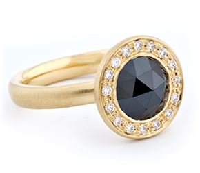 Anne Sportun • 18k gold ring with 8mm rose-cut black diamond