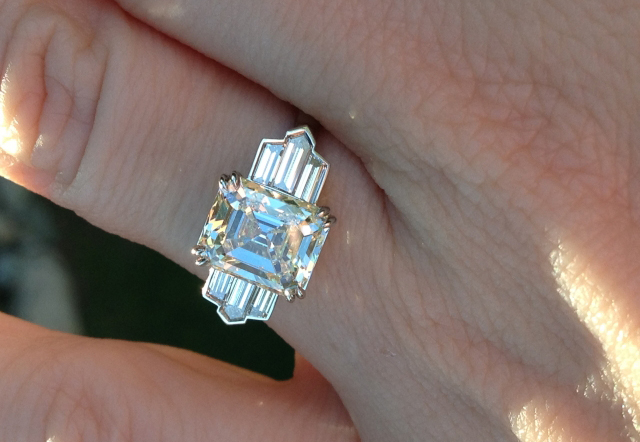 Art Deco style ring with antique emerald-cut diamond