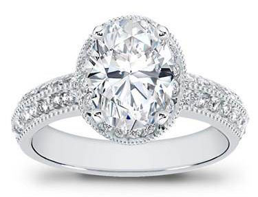 Pave Setting for Oval Diamond at Adiamor