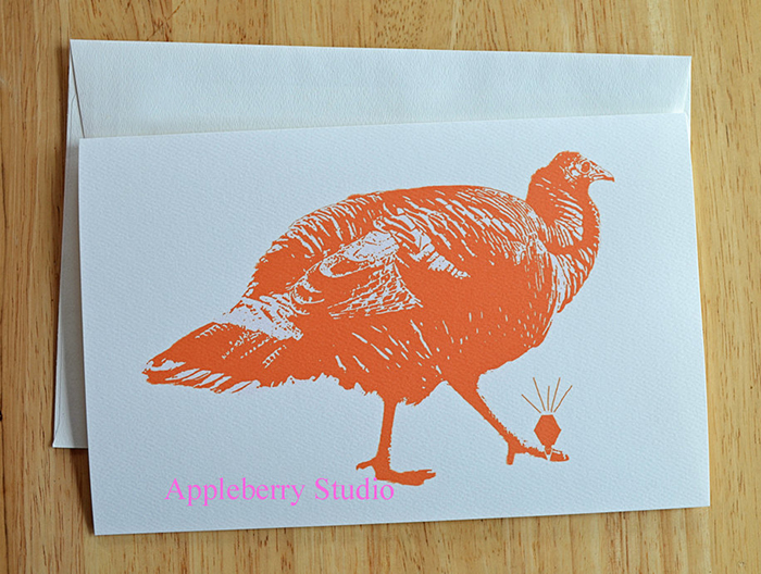 Wild Turkey with Diamond Ring card by Appleberry Studio on Etsy