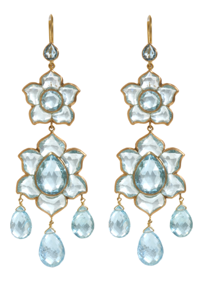 Aquamarine Large Lotus drop earrings by Munnu, Barneys
