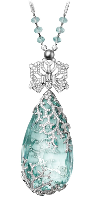 Cartier Biennale Necklace in platinum, featuring a 236.27ct aquamarine, The Jewellery Editor
