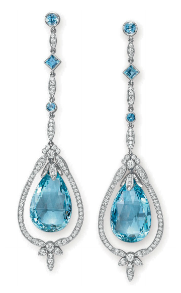 Aquamarine and diamond pendant earrings by Tiffany & Co., Christie's