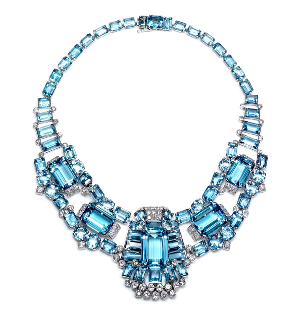 Cartier Art Deco aquamarine and diamond necklace/brooch Kathryn Bonanno