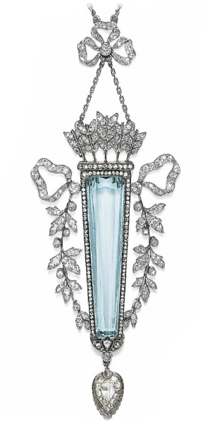 Aquamarine and diamond pendant necklace, circa 1900 by Fabergé, Christie's
