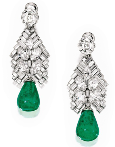 Pair of Art Deco Emerald and Diamond Earclips, Cartier London, 1934, Sotheby's Magnificent Jewels