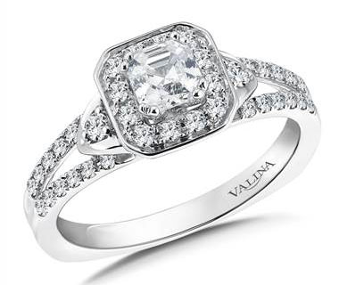 R9575W - Asscher cut shape halo mounting (0.35 ct. tw.)