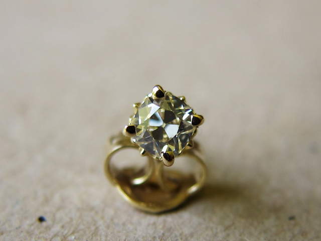 August Vintage Cushion Diamond Studs - Image by Yssie