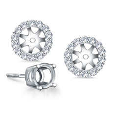 B2C Jewels classic halo earring jackets in 18k white gold
