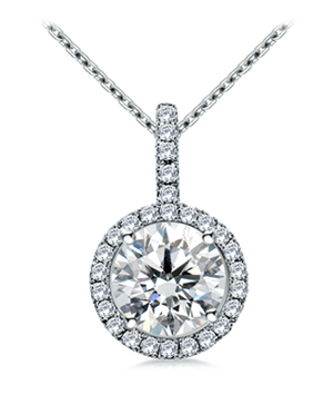 Halo Round Diamond Pendant from B2C Jewels