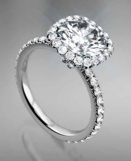 """Berta"" Micro Pave Halo Engagement Ring at Brilliantly Engaged"