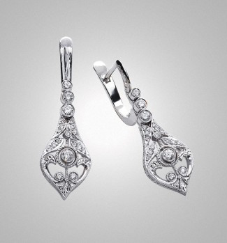 Victor Canera Platinum Drop Earrings
