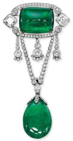 Belle Epoque emerald and diamond brooch, circa 1910, Christie's