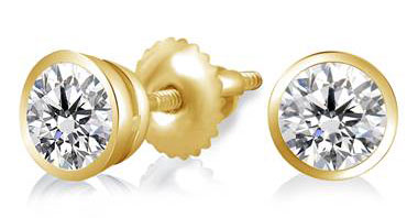 Bezel Set Solitaire Diamond Earring in 14K Yellow Gold at B2C Jewels