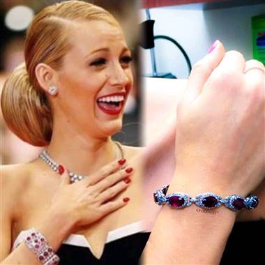 Blake Lively:  23.54CT Ruby and Diamond Bracelet F SI1 18KT White Gold at I.D. Jewelry
